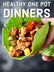 Healthy One Pot Dinner Recipes made on the stove, in the oven, in your crockpot, or in the instant pot! All easy. All one pot. All healthy. All totally delicious. showmetheyummy.com #healthy #onepot #dinner