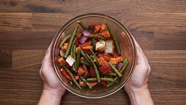 veggies tossed with balsamic dressing