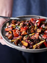 These Balsamic Roasted Vegetables are loaded with sweet potato, asparagus, bell peppers, red onion, dijon mustard, balsamic vinegar, and a few spices! Easy. Healthy. Flavorful. Gluten Free. Vegan. showmetheyummy.com #roastedvegetables #summer #vegan #recipe