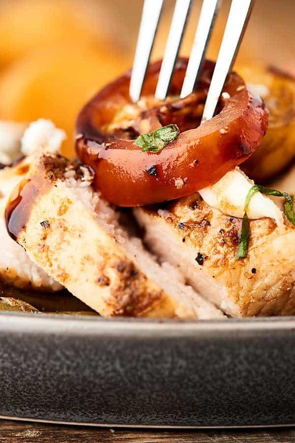 fork in bruschetta chicken closeup