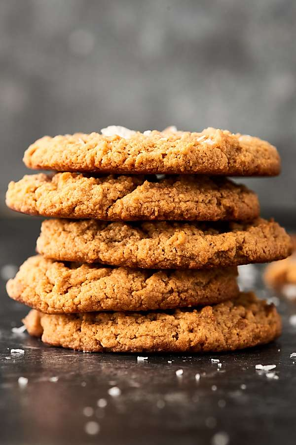 Four peanut butter cookies stacked