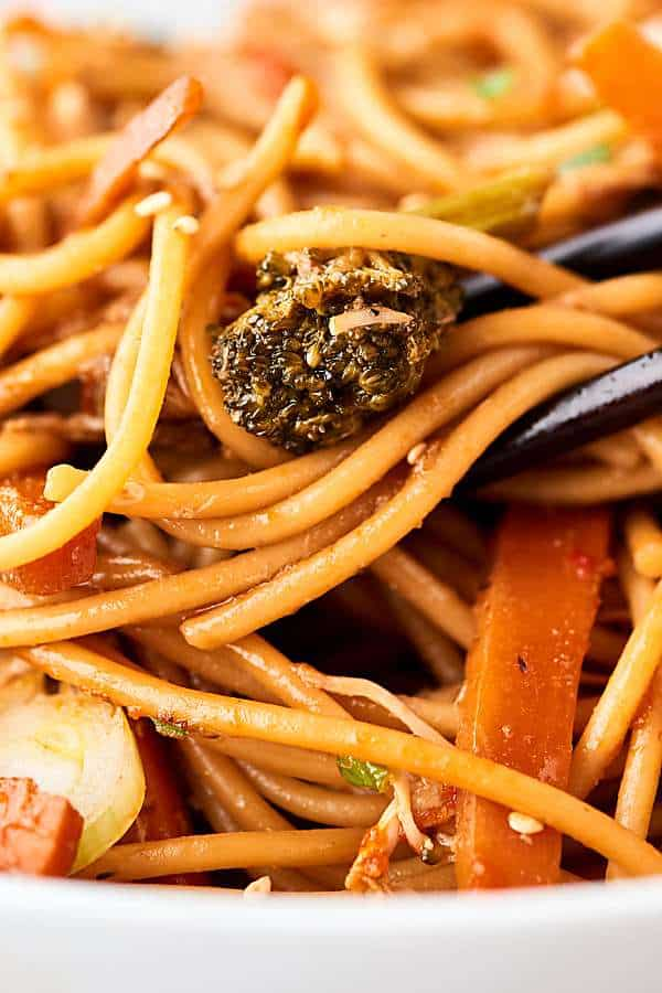 Closeup of lo mein noodles