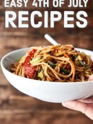Easy 4th of July Recipes! Everything from snacks/sides/apps –> the BEST pasta salads –> main dishes –> desserts and drinks! showmetheyummy.com #4thofjuly #fourthofjuly #recipes #julyfourthrecipes #july4th #july4threcipes
