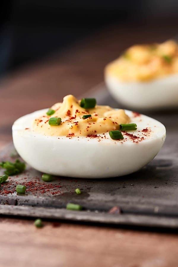 deviled egg on baking sheet side view