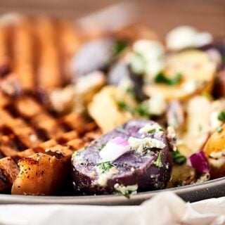 Grilled Potato Salad with Hickory Smoked Brown Sugar Pork Chops