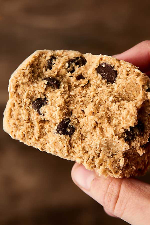 chunk of cookie dough held