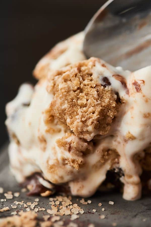 No Churn Chocolate Chip Cookie Dough Ice Cream Recipe. You know you want some! The BEST homemade edible cookie dough (no eggs, no flour) is folded into a fluffy no churn ice cream base and drizzled with hot fudge! No ice cream machine required. showmetheyummy.com #icecream #cookiedough