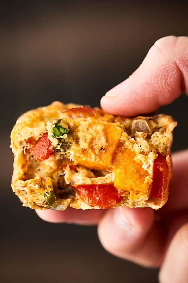 roasted vegetable breakfast muffin held