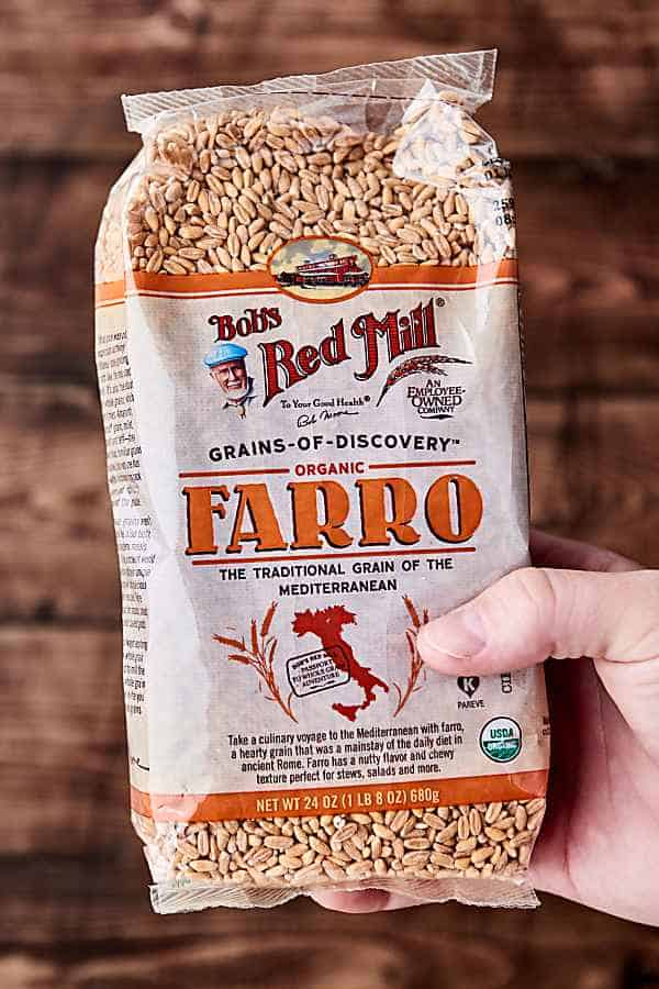 bag of farro held