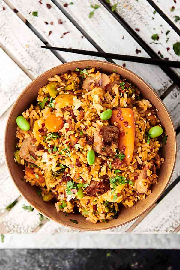 Bowl of fried rice above