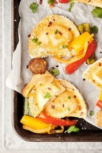 Sheet Pan Pierogies with Sausage and Peppers Recipe