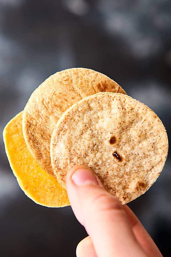 Air fryer tortilla chips held