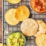"No Oil Air Fryer Tortilla Chips Recipe tested with three kinds of tortillas: corn, flour, and low carb! All ""air fried"" with cooking spray instead of oil and just a little salt. SO quick, easy, and crispy-crunchy! showmetheyummy.com #airfryer #tortillachips"
