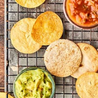 """No Oil Air Fryer Tortilla Chips Recipe tested with three kinds of tortillas: corn, flour, and low carb! All """"air fried"""" with cooking spray instead of oil and just a little salt. SO quick, easy, and crispy-crunchy! showmetheyummy.com #airfryer #tortillachips"""