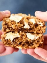 These Easy Coconut Oatmeal Cookies are gluten free and full of old fashioned oats, white chocolate, and sweetened coconut! Quick, easy, thick, chewy, and soooo warm and cozy!showmetheyummy.com #glutenfree #cookies #oatmealcookies #coconutoatmealcookies #whitechocolate