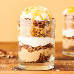 Caramel Apple Cheesecake Parfaits. Graham cracker crumbles, easy no-bake caramel cheesecake filling, pecans, cool whip, and apple pie filling . . . This cozy fall dessert is easy AND delicious!Cool whip and canned apple pie filling alternatives included! showmetheyummy.com #cheesecake #caramel #apple #applepie