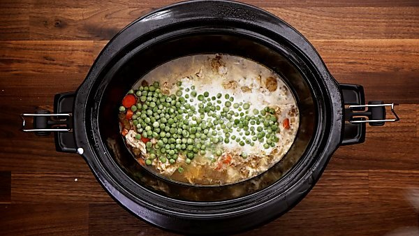 Peas added to crockpot mixture
