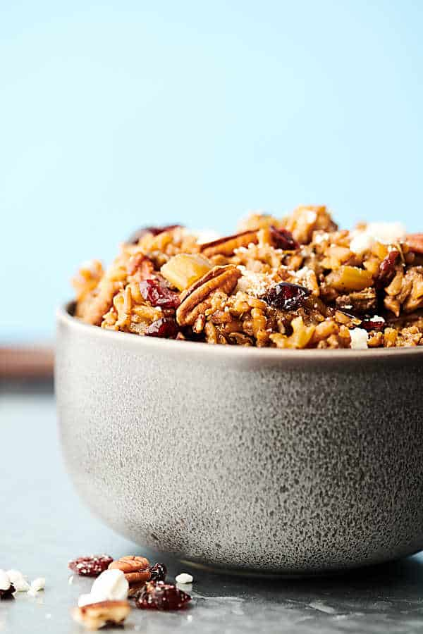 instant pot wild rice stuffing in bowl side view
