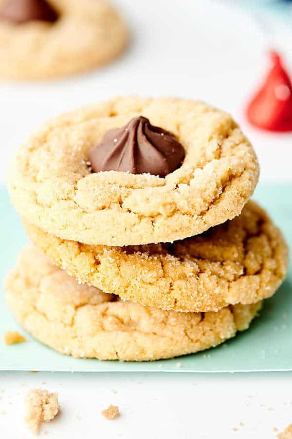 3 peanut butter blossoms stacked