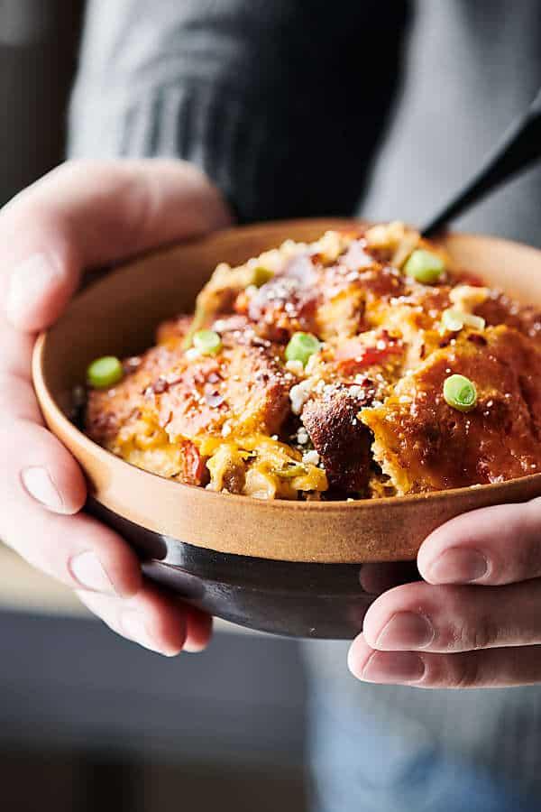 bowl of sausage casserole held