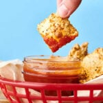 Air Fryer Fried Ravioli. A classic, lightened up! Cheese ravioli is coated in breadcrumbs, panko, parmesan, and spices, and air fried (or baked) to perfection! Serve with your favorite dipping sauce. Quick, easy, delicious! showmetheyummy.com #airfryer #friedravioli #ravioli #cheese #pasta