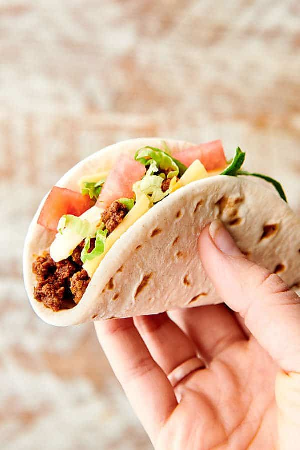 Ground Beef Taco in Hand