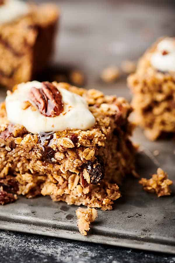 baked oatmeal on tray