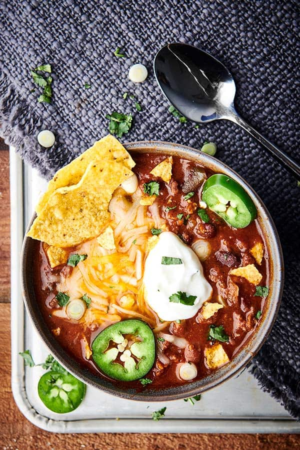 bowl of instant pot chili above