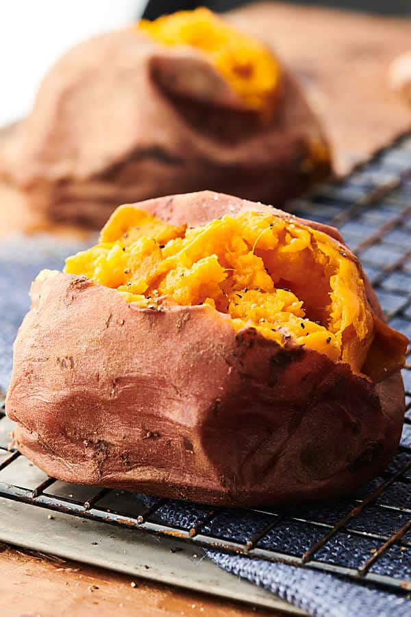 instant pot baked sweet potato on cooling rack