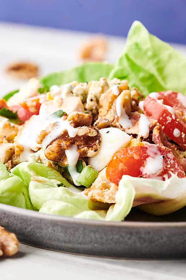 cobb salad lettuce wraps on plate