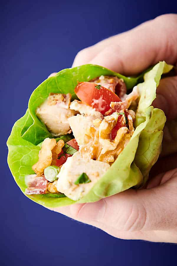 walnut cobb salad lettuce wrap held blue background