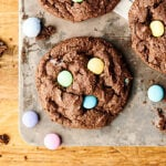 Double Chocolate Cadbury Egg Cookies. A chewy double chocolate cookie loaded with Cadbury Mini Eggs and Easter M&Ms! A quick and easy festive treat for Easter or spring!showmetheyummy.com #chocolate #easter #cookies #cadbury #m&ms