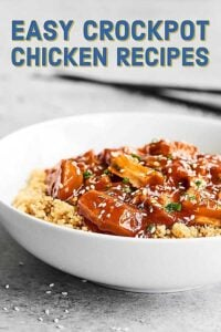 Easy Crockpot Chicken Recipes for dinner! Everything from soups, stews, chilis; chicken with Asian flavor; and chicken with Mexican twists! showmetheyummy.com #crockpot #slowcooker #chicken