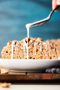Whole Grain Pancake Coffee Cake. A dense and hearty, yet moist whole grain pancake mix based coffee cake is loaded with the most delicious crumb topping and drizzled in an easy maple glaze! Perfect for a healthier cozy weekend brunch or on-the-go busy week day breakfast! showmetheyummy.com #wholegrain #pancake #coffeecake #healthy