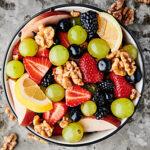 fruit salad with honey walnuts horizontal