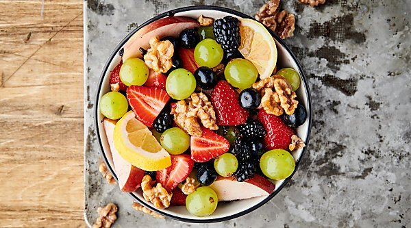 fruit salad with honey walnuts horizontal