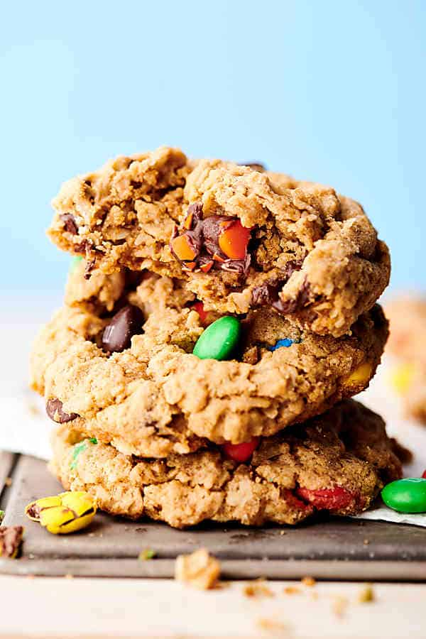 Three monster cookies stacked