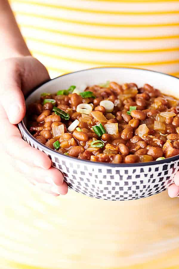 BBQ Baked Beans yellow background