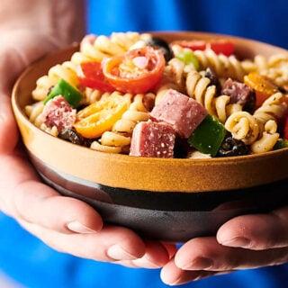 Italian pasta salad holding