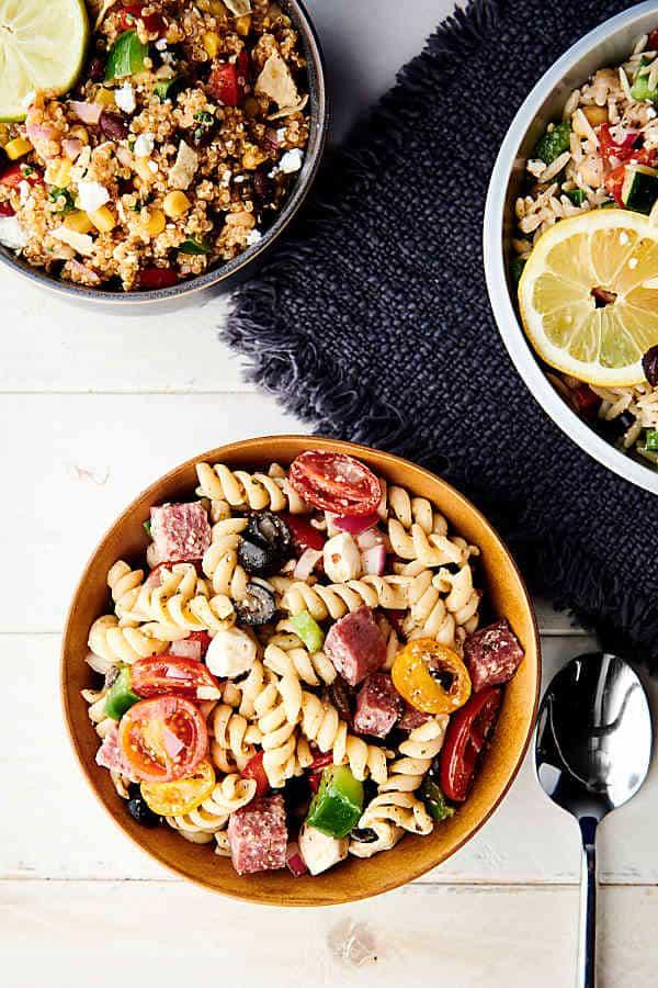 Italian pasta salad above