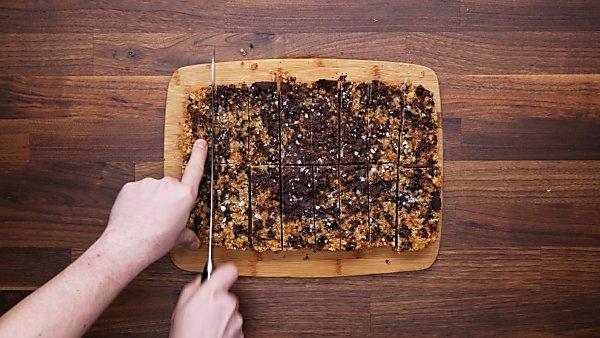 finished granola bars being sliced