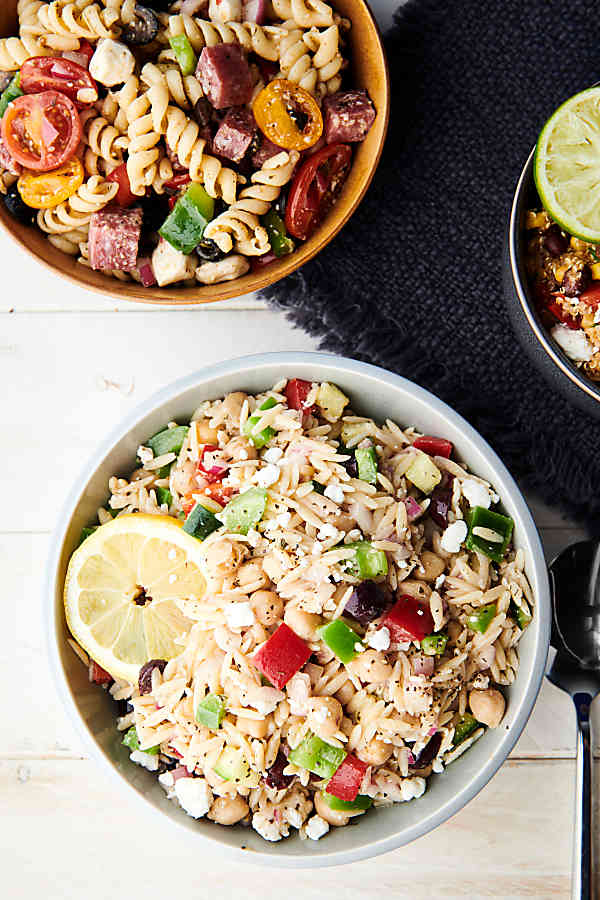 Greek orzo salad above