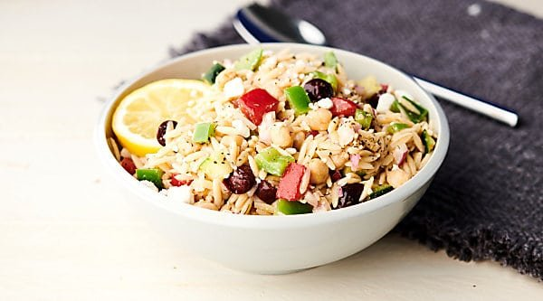 Greek orzo salad horizontal