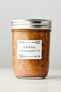 greek salad dressing in mason jar