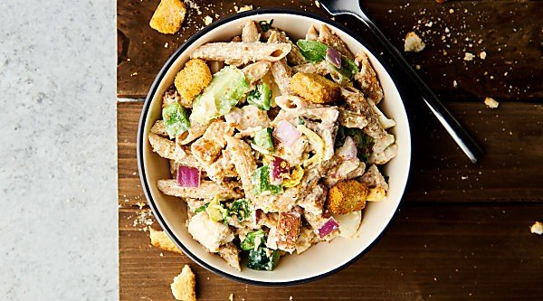 healthy chicken caesar pasta salad horizontal