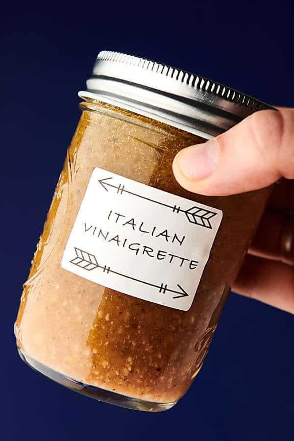 homemade italian dressing recipe blue background