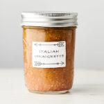 Mason jar of homemade italian dressing