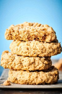 peanut butter oatmeal cookies stacked