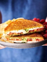 Caprese Grilled Cheese Sandwich on plate