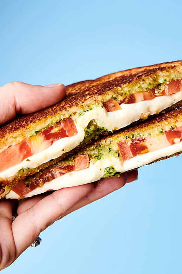 Caprese Grilled Cheese Sandwich blue background